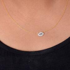 14K Gold Evil Eye Diamond Sapphire Gemstone Pendant Necklace Valentine Jewelry
