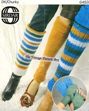 GLOVE / MITTS & 3 styles of LEG WARMERS  - COPY  ladies knitting pattern