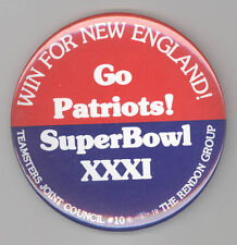 1997 NEW ENGLAND PATRIOTS NFL Super Bowl PIN Button PINBACK Green Bay Packers