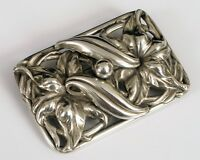 ANTIQUE EDWARDIAN ERA LARGE FLORAL STERLING SILVER BROOCH PIN VERY ORNATE !