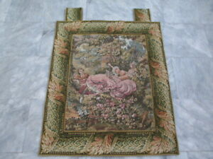 6069 - Old French / Belgium Tapestry Wall Hanging - 90 x 75 cm