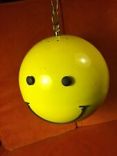 Mid Century Yellow Smiley Face Happy Face Hanging Ceiling Light Globe