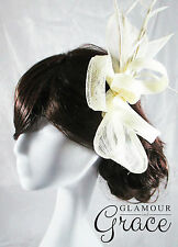 Poppy ivory sinamay fascinator races hat Melbourne Cup carnival wedding Derby