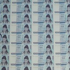 South Korea 2007 Uncut Sheet 45 NOTE 1,000won Currency Money AA9820484D