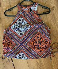 H&M Orange and Blue Sleeveless Crop Top Tie Sides Size 6