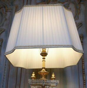 New Pleated CREAM & Gold Rectangular Lined Lamp Light Shade