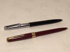 Vintage Sheaffer Black with Chrome Trim & Parker Red & Gold Trim Ballpoint Pens