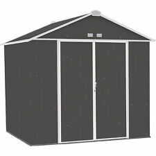 Arrow Ezee Shed Steel Storage Shed- 8ft x 7ft High Gable Charcoal w/Cream Trim