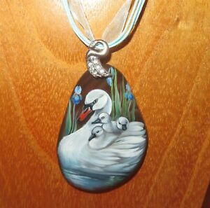 SWAN & Chicks pendant Russian hand painted WHITE SWANS BIRDS stone signed GIFT