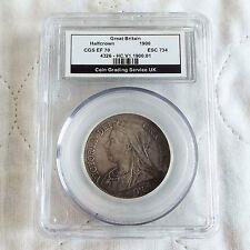 1900 plata de Reina Victoria media corona destrozado CGS ef 70