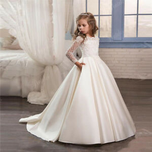 Long Sleeve lace Ball Gown Flower Girl Dress Pageant Party Dress For Wedding