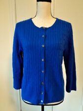 J. CREW Women Wool Blend Cable Knit Cardigan Sweater Royal Blue Sz L