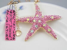 Betsey Johnson Fashion Jewelry Cute Pink Crystal starfish Pendant Necklac # H065