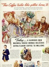MAXWELL HOUSE COFFEE - VICTORIAN PARTY ART Vintage LIFE Magazine Ad 1941