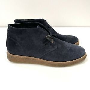 Trask Women's 8.5 Navy Blue Suede Ankle Boot Chukka Rubber Sole Horn Button