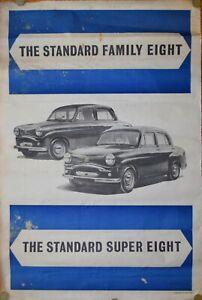 MOTOR ADVERTISING POSTER - STANDARD FAMILY EIGHT, GENUINE VINTAGE, PUB, 1953.