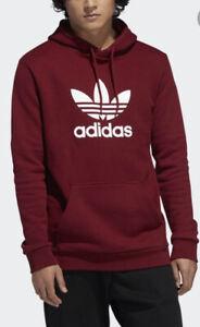 NWOT Mens Adidas Hoodie Trefoil Sweatshirt Pullover Maroon Burgundy Sz M