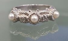 Judith Ripka Stackable Cable Three-stone Pearl Ring Sterling Silver Size 7
