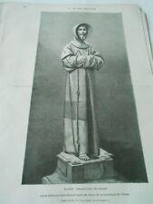 Gravure 1873 - Saint Francois d'assise statue d'Alonzo Cano