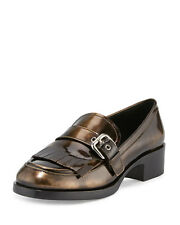 PRADA Burnished Patent Leather Kiltie Loafer Bronzo Womens Shoes 42 / 12 M NEW