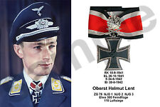 aviation art luftwaffe pilot photo postcard color Nachtjagd Helmut Lent WW2 NJG