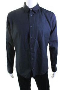 Hermes Mens Long Sleeve Point Collar Dress Shirt Gray Cotton Size 16