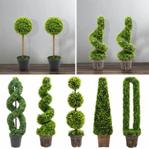 Topiary Trees Potted Artificial Boxwood Fake Grass Plant Tree Ball - Pair/Single