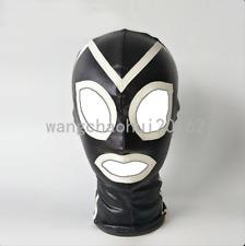 Restraints Fetish Spandex Latex Bandage Hood Headgear Open Eye Mouth Mask Slave