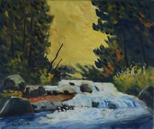 "Serge Cadorette 20x24"" Oil Painting Forest River Landscape Canadian Listed"