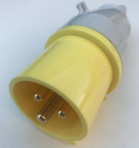 WALTHER 16 Amp Plug Yellow Electrical 110v IP44 Drill Transformer Connector New