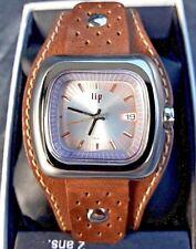 Montre LIP TV homme quartz neuve réédition an 70 gros bracelet cuir