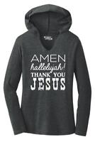 Ladies Amen Hallelujah Thank you Jesus Hoodie Shirt Religious Christian Shirt