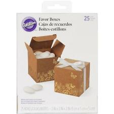 """Wilton: 25 Square Kraft 2"""" Favor Boxes, with Gold Foil Floral & Butterfly Design"""