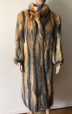 VTG AMERICAN RED GRAY FOX FUR COAT SIZE L
