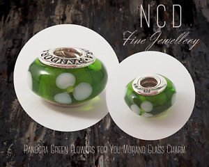 NC Designs Authentic Pandora Green and White Flowers for You Murano Glass Charm