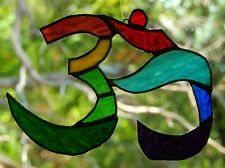 RAINBOW OM TIBET BUDDIST PRAYER SYMBOL Stained Glass SUNCATCHER Multi Coloured