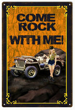 Reproduction Orange Come Rock With Me Pin Up Girl Sign