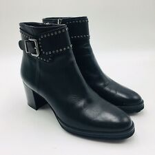 Red Shoe Women's Ankle Bootie Size 38 Black Leather
