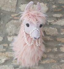 Handmade Faux taxidermie rose de lama, Lama alpaga tête mural ANIMAL Trophée