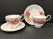 Lot of two VINTAGE PARAGON GOLDEN EMBLEM Fine Bone China Demi Teacup and Saucer