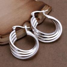 Shaped Drop Hoop Earrings #E105 Womens 925 Sterling Silver Multi-Layered Oval