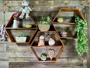 Brown Set of 3 Vintage Wood Hexagon Wall Shelf Storage Planter Display Cube