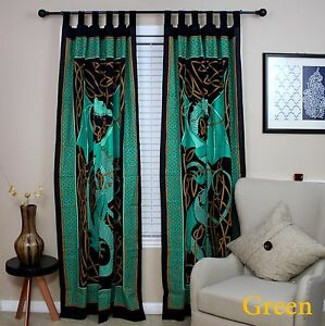 Celtic Dragon Curtain Cotton Drape Panel Green 44 x 88 inches