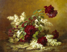 Paul de Longpre Still Life With Red Roses And Lilacs Canvas Print 16 x 20  #3520