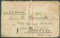 BRITISH NEW SOUTH WALES TO GERMANY Registered Postal Stationery Missing Stamps