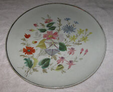"Antique/Vintage Large China Serving Plate - White, Flowers, Gold - 13"" Diameter"