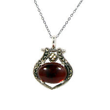 """Sterling Silver Marcasite reconstitute Amber Pendant Necklaces on 18"""" chain."""