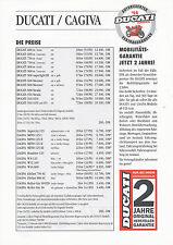 Ducati Cagiva Preisliste 1994 600 750 900 SS Superlight Monster 916 Elefant W16