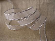 Ivory and Silver Ribbon, 15 YARDS, Christmas, Bridal, Home Decor, Bows