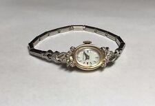 Vintage Hamilton 14K & Diamante da Donna Meccanico Orologio
